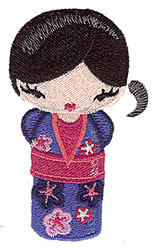 Japanese Kokeshi embroidery design