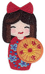 Kokeshi Doll With Umbrella embroidery design