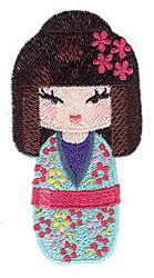 Floral Kokeshi Doll embroidery design
