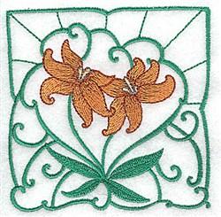 Orange Lily Block embroidery design