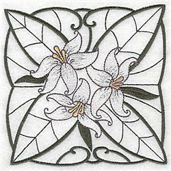 White Lily Block embroidery design
