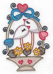 Love Bird Basket embroidery design