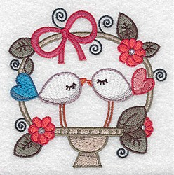 Birds In Basket embroidery design