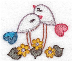Elegant Love Birds embroidery design