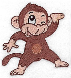 Winking Monkey embroidery design