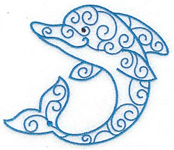 Fancy Dolphin embroidery design