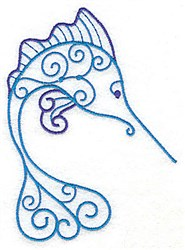 Billfish Of Swirls embroidery design