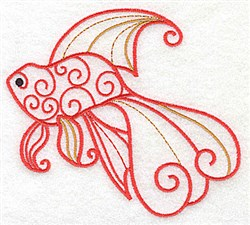 Fantail Goldfish embroidery design