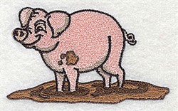 Adorable Pig embroidery design
