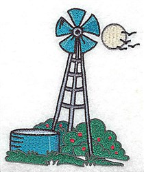 Windmill And Reservoir embroidery design