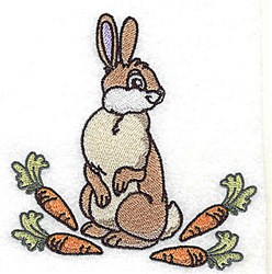 Rabbit With Carrots embroidery design