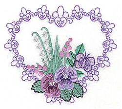 Fancy Heart Floral embroidery design
