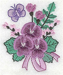Bouquet With Butterfly embroidery design