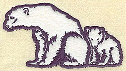 Bear With Cub Applique embroidery design