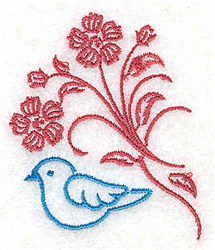 Bluebird and Stem embroidery design