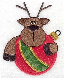 Reindeer Ornament Applique embroidery design