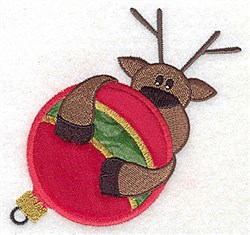 Reindeer on ornament appliques embroidery design