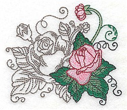 Swirls & Roses embroidery design