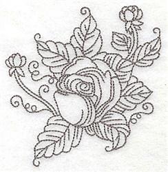 Rose Motif Outline embroidery design