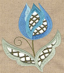 Cutwork Lotus Stem embroidery design