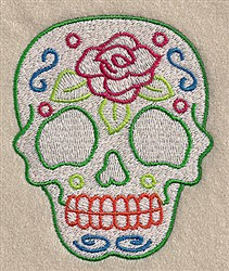 Rose Skull embroidery design