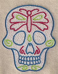 Butterfly Skull embroidery design