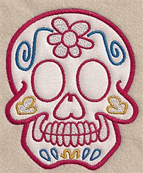 Floral Skull Applique embroidery design