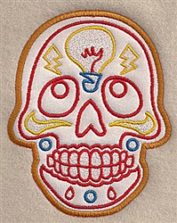 Skull Bulb Applique embroidery design