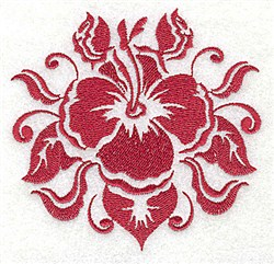 One Color Hybiscus embroidery design
