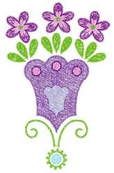 Swirly Purple Flowers embroidery design