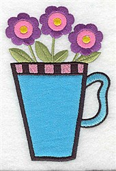 Three Flowers Applique embroidery design