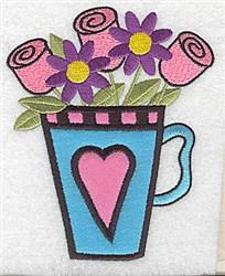 Rose Teacup Applique embroidery design