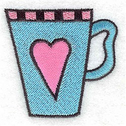 Teacup With Heart embroidery design