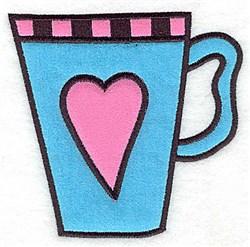 Heart Teacup Applique embroidery design