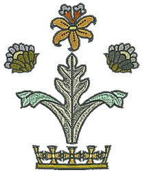 Tudor Flowers Tiara embroidery design