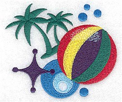 Beach Ball & Palms embroidery design