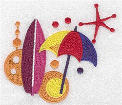 Umbrella & Surf Board embroidery design