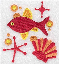 Fish & Seashell embroidery design