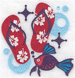 Flip Flops & Fish embroidery design