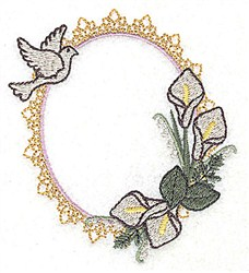 Dove Lily Frame embroidery design