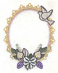 Dove Floral Frame embroidery design