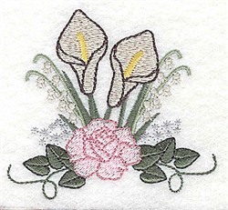 Calla Lily and Rose embroidery design