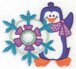 Penguin & Snowflake embroidery design