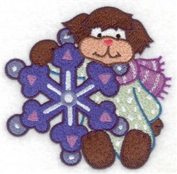 Dog & Snowflake embroidery design