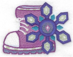 Winter Boot & Snowflake embroidery design