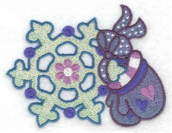 Mittens & Snowflake embroidery design