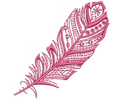 Purple Fancy Feather embroidery design
