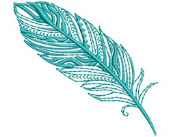 Turquoise Fancy Feather embroidery design