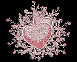 Hearts with Rose Swirls embroidery design