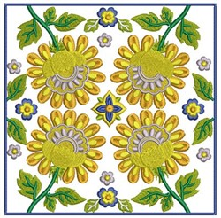 Floral Blocks embroidery design
